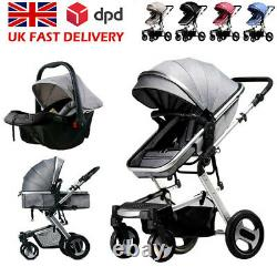3 in1 Newborn Baby Pram Pushchair Car Seat Stroller Carrycot Travel System Buggy
