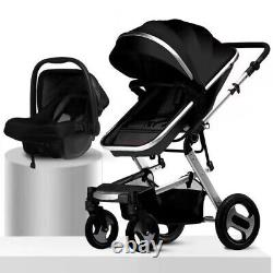 3 in 1 Baby Pram Pushchair Stroller Car Seat Carrycot Travel System Buggy -Black