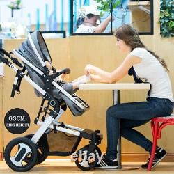 3 in 1 Baby Pram Pushchair Stroller From Birth With Car Seat Travel System Buggy
