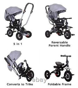 5 in 1 Tricycle Kids Trike, Tricycle Stroller Child Push Chair Reversible Seat