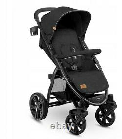 BABY STROLLER KIDS BUGGY PUSHCHAIR WITH FOOT COVER ANNET LIONELO Black carbon