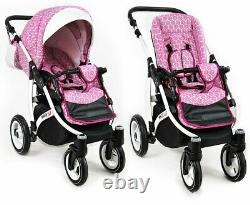 Baby Eco Leather WHITE LUX Pram Pushchair Buggy Stroller Car Seat 3 in1 Travel