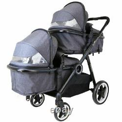 Baby Pram System Double Twin Travel Tandem Pushchair Buggy Stroller Pebble New