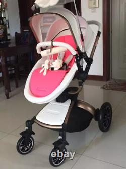 Baby Stroller 3 in 1 high-view 360 Rotation Bassinet folding Pushchair &car seat