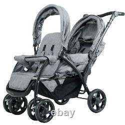 Double Stroller Twin Baby Pushchair Infant Foldable Strollers Lightweight Gray