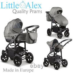 Grey 3 in 1 Baby Pram Stroller Pushchair Car Seat Carrycot Travel System Buggy