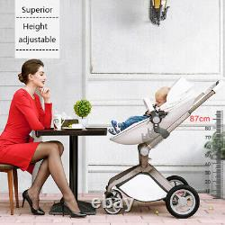 Hot mom Baby Stroller 3 in 1 High view Pram foldable buggy pushchair&Car Seat