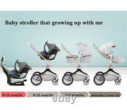 Hot mom Baby Stroller 3 in 1 high view 360 Rotation Bassinet Pushchair&car seat