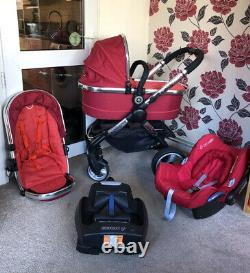 ICandy Peach Red Travel System 3 In 1 Pushchair Stroller & Easy Base