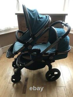 Icandy Peach 3 Peacock Twin Tandem Double Pushchair Stroller Pram & Carrycot Set