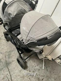 Joie Evalite Duo Double Tandem Baby Stroller Buggy -Grey flannel with Raincover