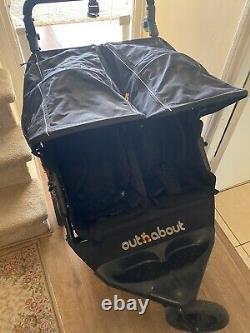 Out'n'About Nipper Double V4 Pushchairs Double Seat Stroller Raven Black