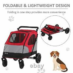 PawHut Dog Stroller Foldable Pet Pushchair Carrier for Medium Large Dogs Red