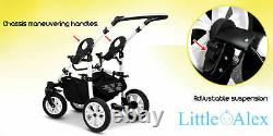 Silver 3 in 1 Baby Pram Stroller Pushchair Car Seat Carrycot Travel System Buggy