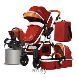 Stroller only Red 2 in 1 baby pushchair high view luxury baby stroller Fast&Free