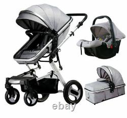 UK New 3 IN 1 Baby Stroller Pram Car Seat Pushchair Carry Cot Travel System